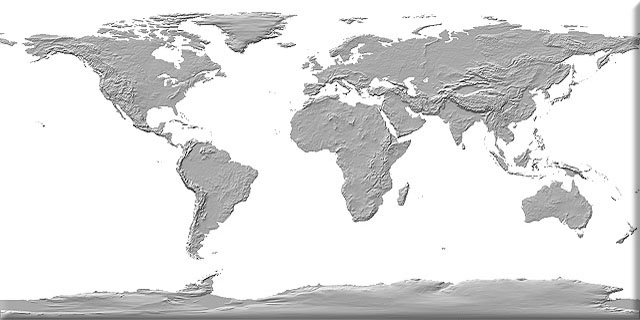 Monochrome shaded Earth texture map