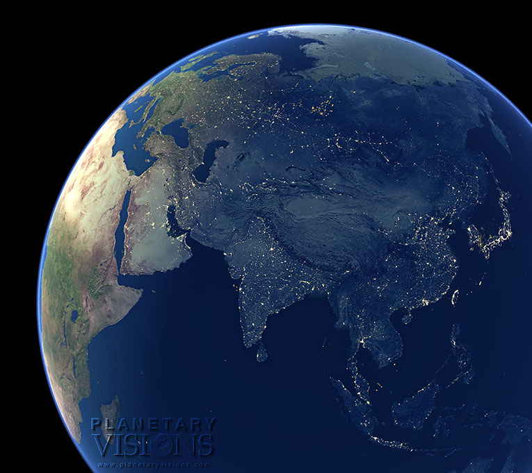 Night-time view of Asia.