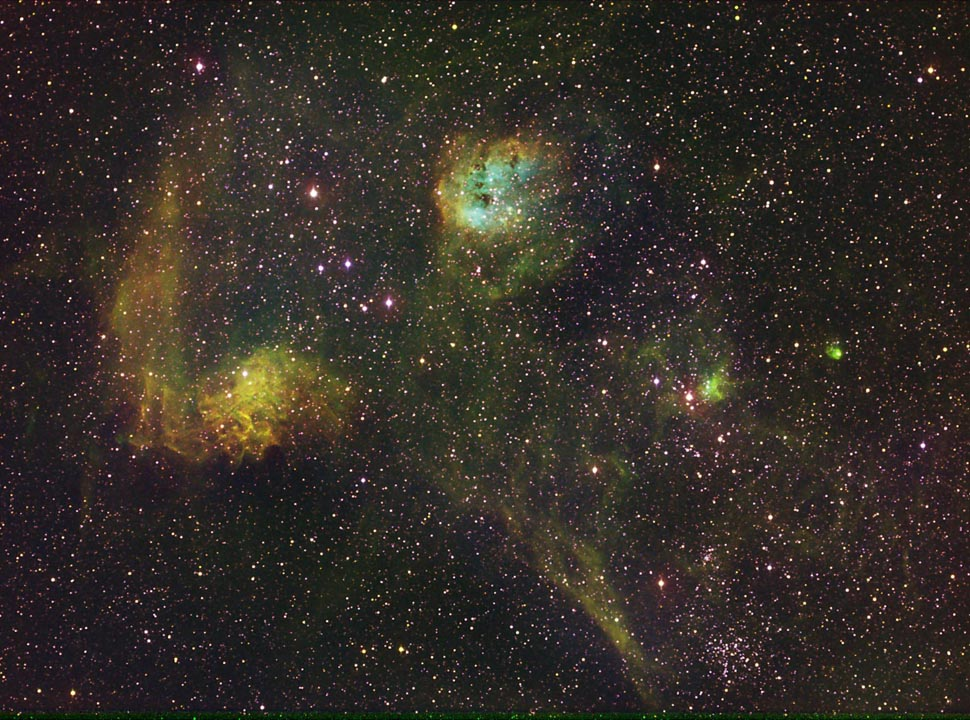 IC 405, Flaming Star Nebula, + IC 410 + NGC 1893 nebula