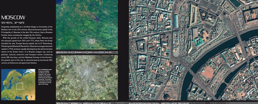 Imagery of Moscow at various scales